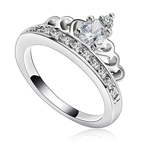 Miss World America Costume (Aeici Jewelry, Silver Plated Rings for Women Cubic Zirconia SWA Element Princess Crown Tiara Ring Size 8.5)