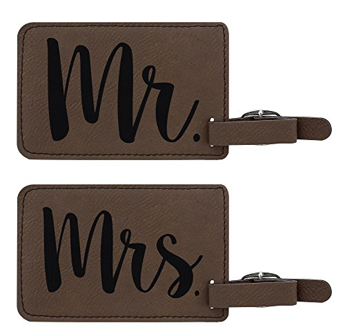 Luggage Tags for Couples Mr & Mrs Matching Couples Luggage Tags Couples Gifts for Newlyweds Anniversary Gifts 2-pack Laser Engraved Leather Luggage Tags Brown by ThisWear