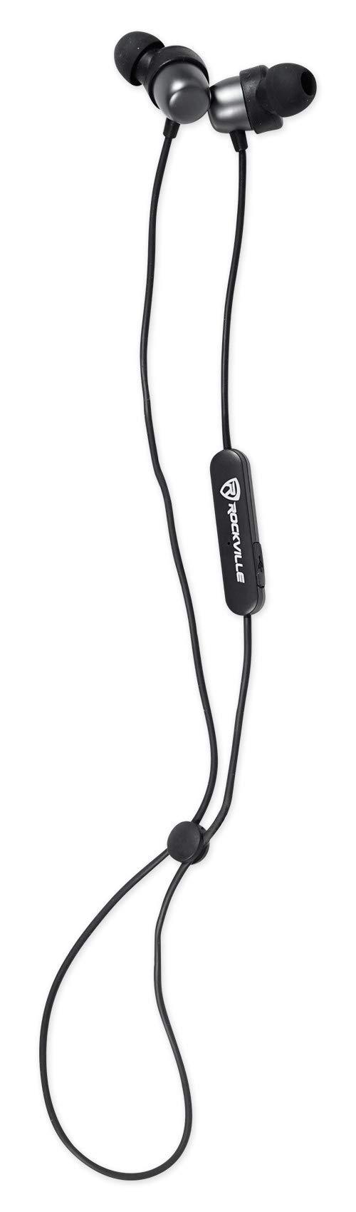 Rockville EBT35 Gunmetal Magnetic Bluetooth Earbuds Auriculares deportivos internos / IPX5