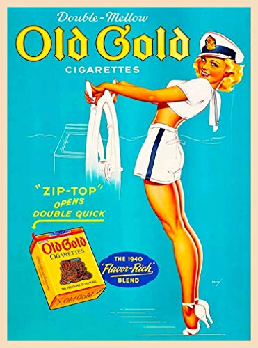 A SLICE IN TIME 1940's Pin-Up Old Gold Cigarettes Sailor Girl Vintage Home Collectible Wall Decor Art Poster Print. 10 x 13.5 inches (Cigarettes Poster)