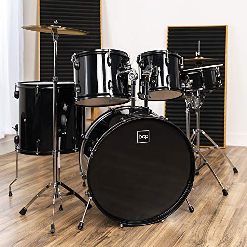 Best Choice Products 5-Piece Complete Full Size Adult Drum Set | Includes Cymbals, Stands, Stool, Pedal, Drumsticks | Black