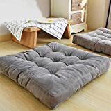 EGOBUY Solid Square Floor Pillow Tufted Thicken Chair Pad Tatami Corduroy Seat Cushion, 22x22 inch, Gray