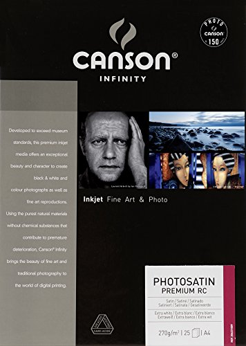 Canson Infinity PhotoSatin Premium RC 270gsm, semi-Glossy White Inkjet Paper, A4, Box of 25 Sheets