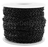 CleverDelights Cable Chain Spool - 30 Feet - Dark Black Color - 2x3mm Link - 10 Yards - Bulk Roll