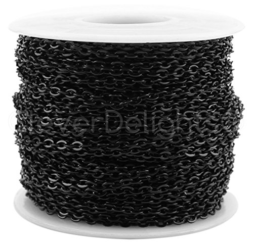 Chain Black (CleverDelights Cable Chain Spool - 30 Feet - Dark Black Color - 2x3mm Link - 10 Yards - Bulk Roll)