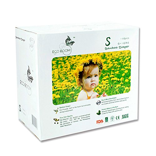 - ECO BOOM Baby Bamboo Biodegradable Diapers Infant Nature Disposable Diapers Eco Friendly Nappies for Babies Size S 108 Count-Pack