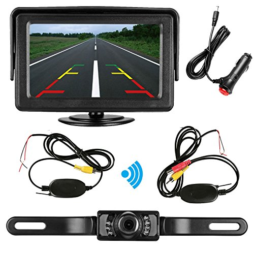 Reverse System (Emmako Rear View Camera wireless and Monitor Kit 9V-24V backup camera system with IR Night Vision Waterproof 4.3 Display Guild lines for Car/ Vehicle/truck/pickup/Van)