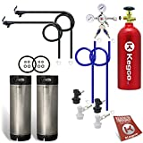 Kegco BF 2SHPCK-BALL5T Two Keg Homebrew Beer Kegerator Conversion Kit Ball Lock Keg with Tank, Black