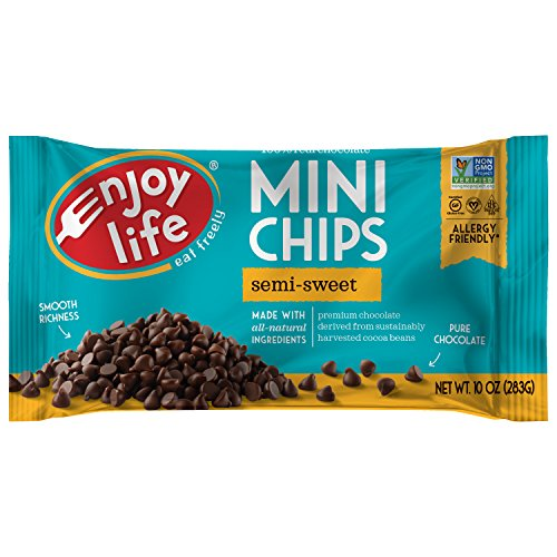 Enjoy Life Baking Chocolate, Soy free, Nut free, Gluten free, Dairy free, Non GMO, Vegan, Paleo, Semi Sweet Mini Chips, 10 Ounce Bags, 12 Count