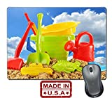 """Liili Natural Rubber Mouse Pad/Mat with Stitched Edges 9.8"""" x 7.9"""" Plastic children toys for playing in sandpit or on a beach over the blue sky Photo 20323663"""