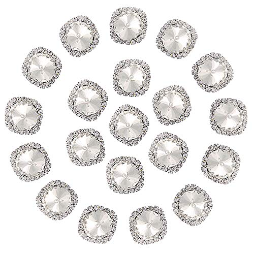 (Flat Back Rhinestones Buttons Embellishments with Diamond, Sew On Crystals Glass Rhinestone for Clothing Wedding Bouquet(20pcs) White)