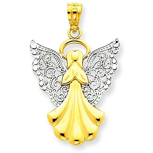 14K Gold & White Gold Filigree Angel Pendant Charm Jewelry 28 x 18 mm