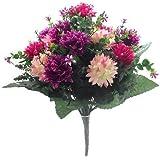 A1 Home - Ramo de flores artificial (41 cm), diseño en colores rosa chillón y vino