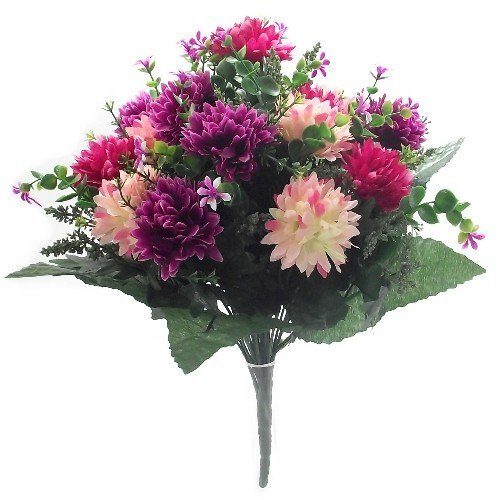 A1 Home Bouquet de fleurs artificielles Rose/lie-de-vin 41 cm