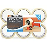 """Sure-Max 6 Rolls Heavy-Duty Shipping & Packing Tape (2"""" x 60 yard/180' Each) - Moving & Adhesive Carton Sealing - 2.7mil Clear"""