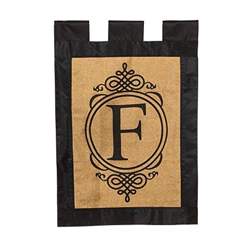 Evergreen Burlap Monogram - F House Flag, 29 x 43 inches