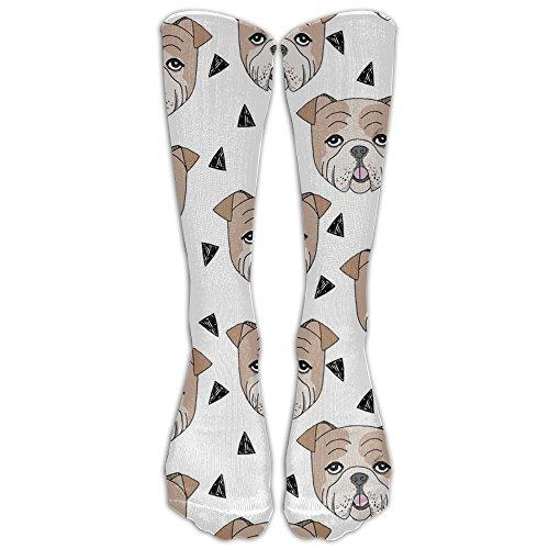 English Bulldog White Dog Breed Compression Socks For Men & Women - BEST For Running, Nurses, Shin Splints, Flight Travel, Skiing & Maternity Pregnancy - Boost Athletic Stamina & Recovery