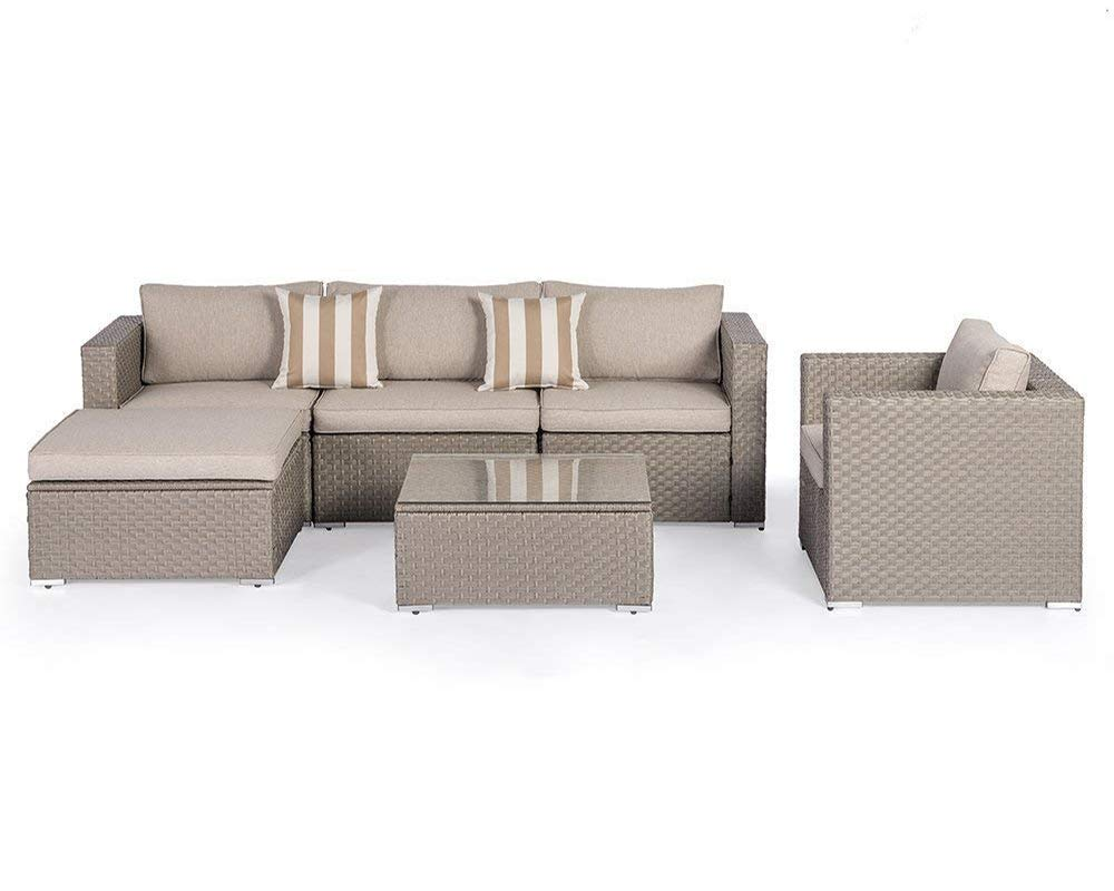 SUNCROWN Furniture Sectional Sofa (7-Piece) Outdoor Set w/Brown Washable Seat Cushions & Modern Glass Coffee Table | Patio Backyard, Pool & Waterproof Cover - COMFORTABLE SOFA SET - This contemporary outdoor sectional sofa comes with enough room to seat 4-6 friends comfortably with a table to hold food and drinks. BEAUTIFUL WICKER STYLE & THICK, COMFORTABLE CUSHIONS - Crafted with high-quality brown resin wicker, this outdoor sofa furniture adds handsome décor to your patio, deck, backyard porch, or even pool. Cushion covers remove with a quick zip and are machine washable! ELEGANT GLASS TABLETOP - The checkered wicker sectional set also features a gorgeous tempered glass top that perfectly highlights your patio or poolside decor. - patio-furniture, patio, conversation-sets - 5170PE60bKL -