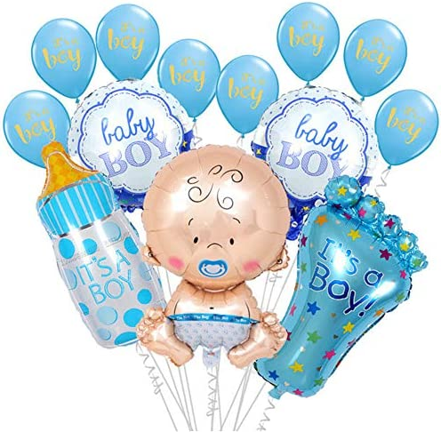 13pcsBaby Shower Decorations for Boy It`s A Boy Balloon It`s A Boy Foil Latex Balloon Set Large Baby Bottle Feet Balloon Baby Shower Birthday Helium Balloons Party Decoration Supplies