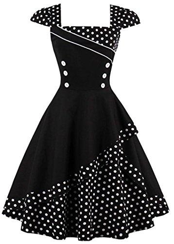 Ayli Women's Square Cap Sleeve Retro Polka Dot Midi Dress, White Dot on Black, US-20/Tag-4XL/02w092 ()