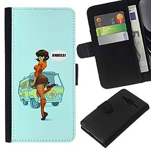 Supergiant (Sexy Pin Up Redhead Girl Woman Poster) Dibujo PU billetera de cuero Funda Case Caso de la piel de la bolsa protectora Para Samsung Galaxy Core Prime / SM-G360