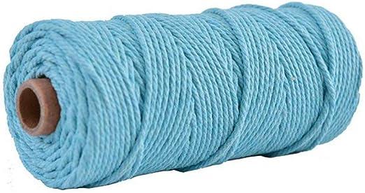 Almabner - Cuerda de algodón trenzado natural, cordón de macramé ...