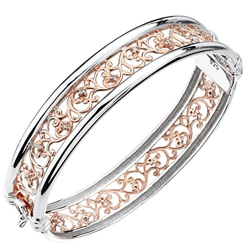 Diamond Swirl Bangle (Rose Gold And Sterling Silver Diamond Bangle (1/5 CT) Swirl Style)