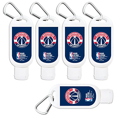 Washington Wizards Travel Size Extra-Moisturizing Hand Lotion 5-Pack 1.5 oz Containers with Clip. NBA Basketball Gifts for Men and Women, Mother's and Father's Day, Stocking Stuffers.