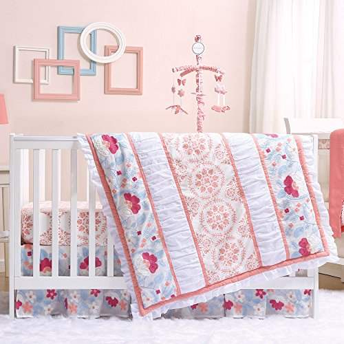 Camilla Coral and Blue Baby Crib Bedding - 20 Piece Nursery Essentials Set