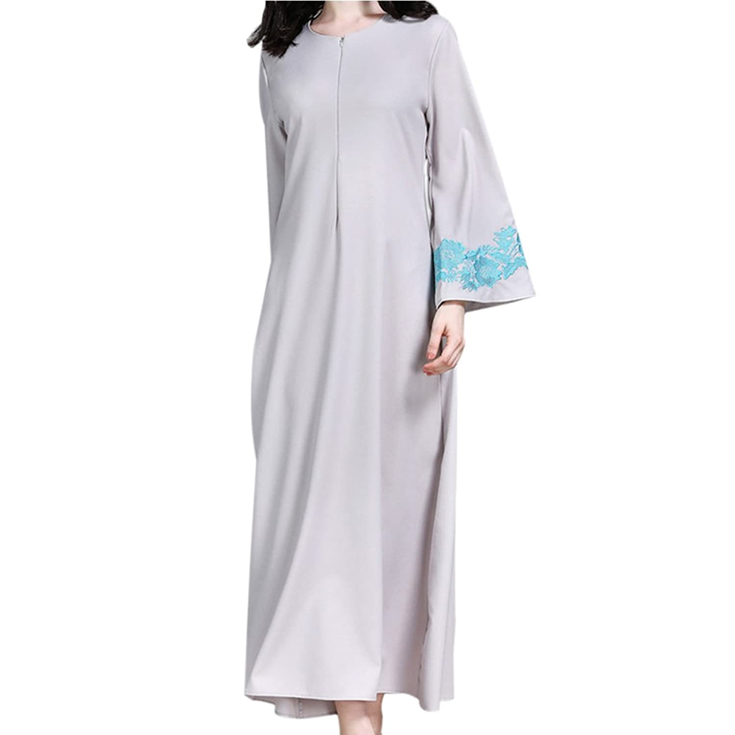 Meijunter Women Muslim Islamic Embroidery Long Sleeve Maxi Dress with Pocket Middle East Dubai Ethnic Robe Malaysia Cocktail Abaya Arabic Church Prayer ...