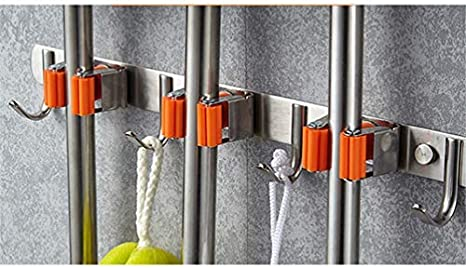 Lin Tong Brosse /à balai Mop en acier inoxydable 3 m Support mural en acier /à ressorts 3 serrage rapide avec 4 crochets clip et outils de jardin