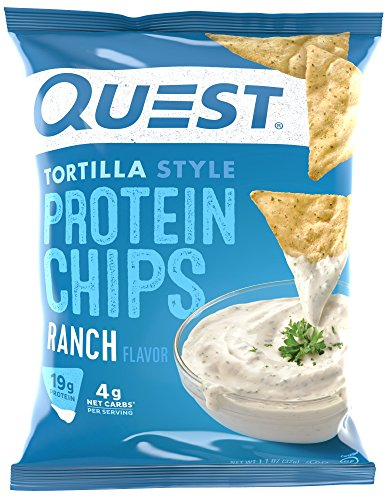 Quest Nutrition Protein Tortilla Chips, Ranch, 19g Protein, 4g Net Carbs, 140 Calories, Low Carb, Gluten Free, Soy Free, Potato Free, Baked, 1.2oz Bag, 8 Count