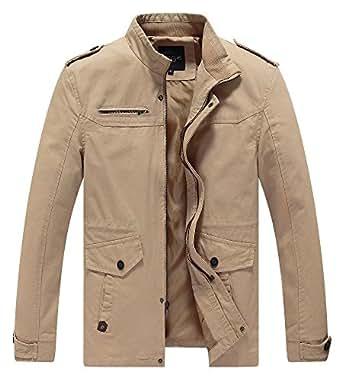 Lega Mens Casual Cotton Coat Stand Collar Military