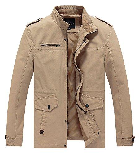 Lega Mens Cotton Classic Pea Coat Spring & Fall & Winter Ourdoor Jacket(Khaki/US Large/Asia 4XL) (Men Fall Style)