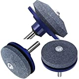 Xgood 3 Pieces Blue Lawn Mower Sharpener Blade Drill Lawnmower Sharpener for Any Power Drill