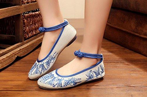 YQQ Zapatos bordados, lenguado de tendón, estilo étnico, hembrashoes, moda, cómodo, zapatos de baile , blue , 40