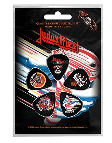 - Judas Priest Plectrum Pack Guitar Pick X 5 Band Logo British Steel Official