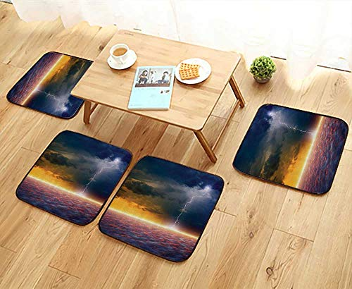Printsonne Fillet Chair Cushion Apocalyptic Sky End of The World Majestic Mystic Sky Solar Flames Suitable for The Chair W13.5 x L13.5/4PCS Set by Printsonne