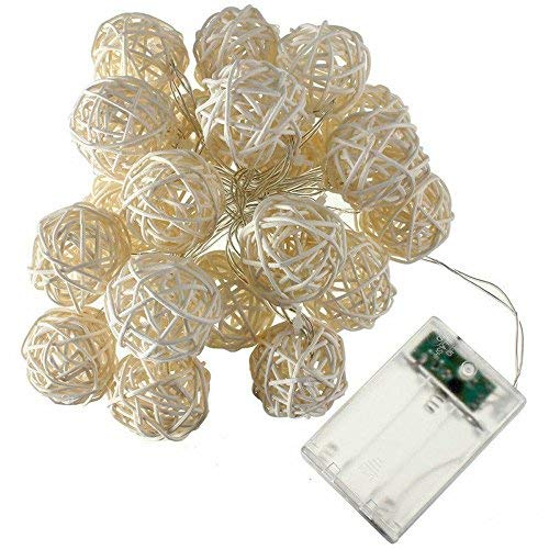 COTW Cream White Handmade Rattan Ball String Lights 20 LEDs Battery Operated Warm White Indoor Decoration Wedding Fairy Lights Led Decorative String Lights for Garden Kitchen Bedroom ()