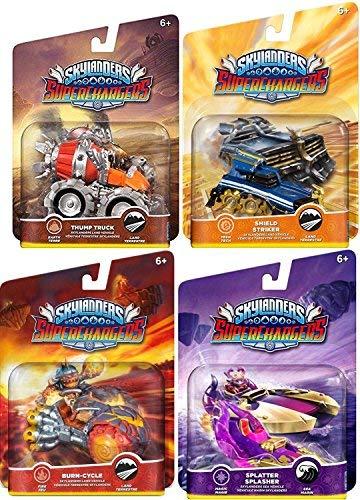 (Skylanders Super Chargers Burn Cycle / Thump Truck / Splatter Splasher / Shield Striker Game Vehicles Sklanders Land & Sea 4-pac)