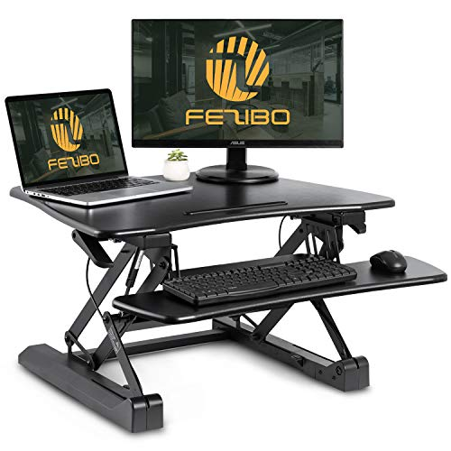 Standing Desk Converter with Height Adjustable  FEZIBO Black 29