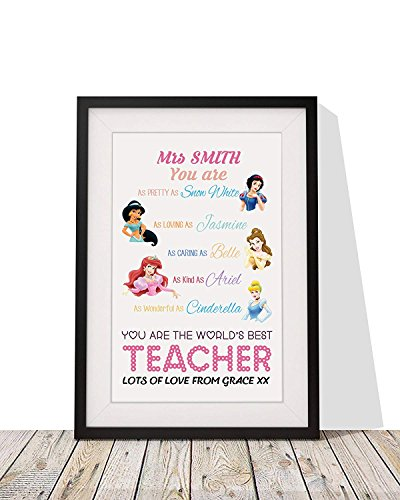 Personalized Best Teacher Gift | 'Disney Princess' Framed Wall Art Print with Mount | 12x10 Inch Wall Décor ()