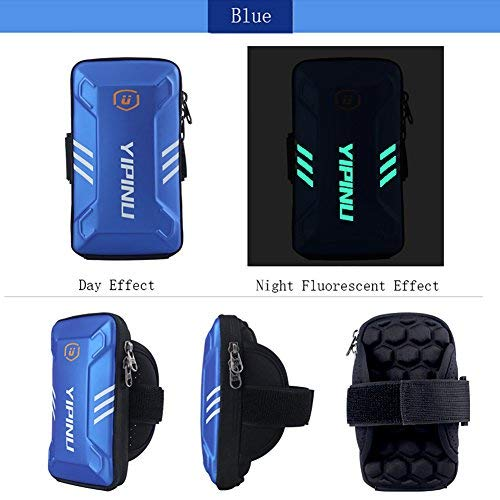 sports armband Waterproof SportsCellPhone ArmBag, Cool and CasualNight Running Armband for Workout inGym, Running, Cycling,Hiking,Horse Riding,Jogging,and Nordic Skiing (blue, Small)