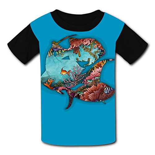 100% Cotton New Slim fit T-Shirts 3D Printed With Sea World For Unisex Kids XS