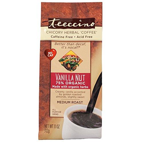 (Teeccino Herbal Coffee, Mediterranean Vanilla Nut, Caffeine-Free, 11-Ounce Bags (Pack of 3))