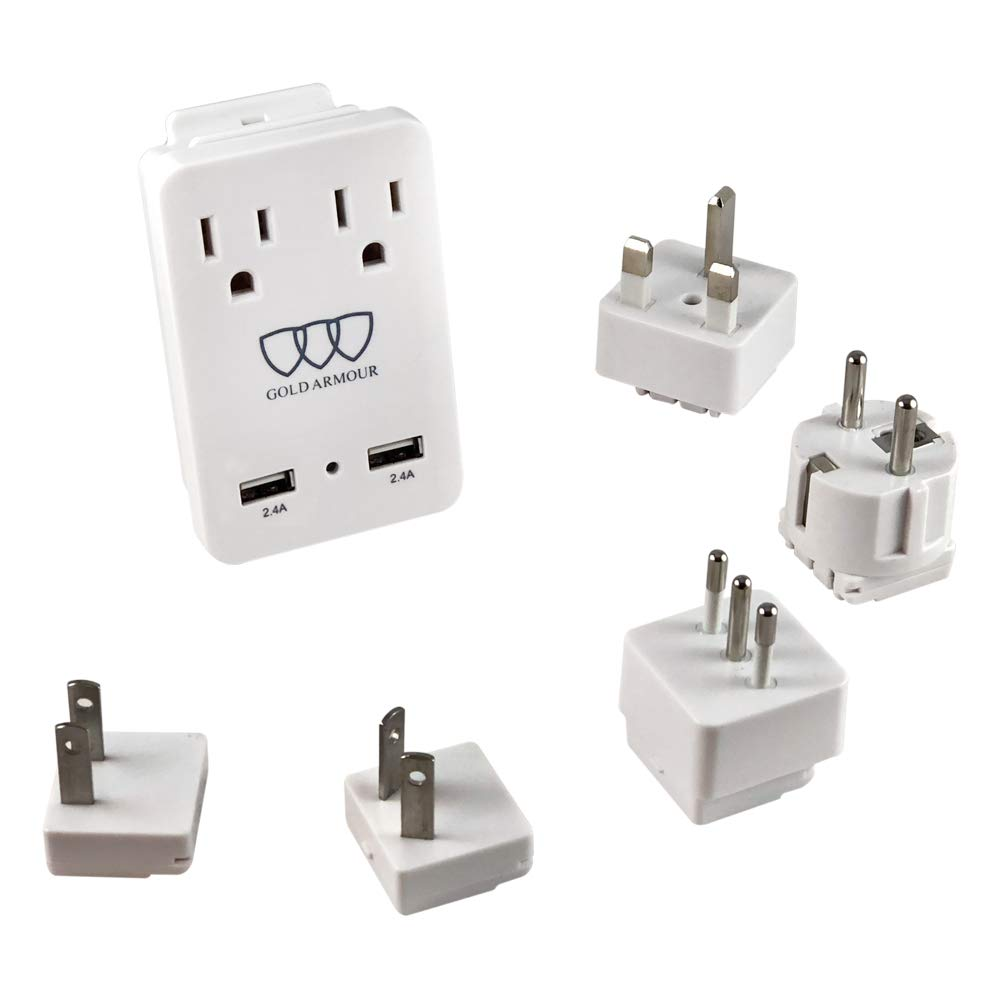 2000W International Travel Adapter Kit - AC Outlets + Two 2.4A USB Port with Worldwide Universal Wall Plugs for UK US AU Europe Italy Asia - Works for Hair Dryer & Hair Straightener