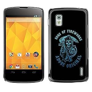 Carcasa Funda Prima Delgada SLIM Casa Case Bandera Cover Shell para LG Google Nexus 4 E960 / Business Style Sons Of Fireworks Reaper