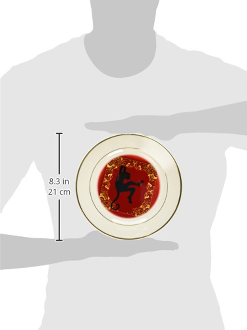 Gold and Black Chinese Zodiac Year of the Monkey Chinese New Year Red cp/_101848/_1 8 inch Porcelain Plate 3dRose Doreen Erhardt New Year Collection