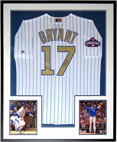 Kris Bryant Signed Gold 2016 Chicago Cubs World Series Champions Jersey - Fanatics MLB COA Authenticated - Professionally Framed & 2 8x10 Photo