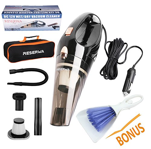Reserwa Car Vacuum 12V 106W Wet&Dry Car Vacuum Cleaner Protable Car Handheld Vacuum 14.7FT(4.5M) Power Cord with 2 HEPA Filters and One Carry Bag